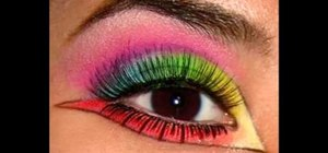 Apply neon multi-colored makeup to your eyes
