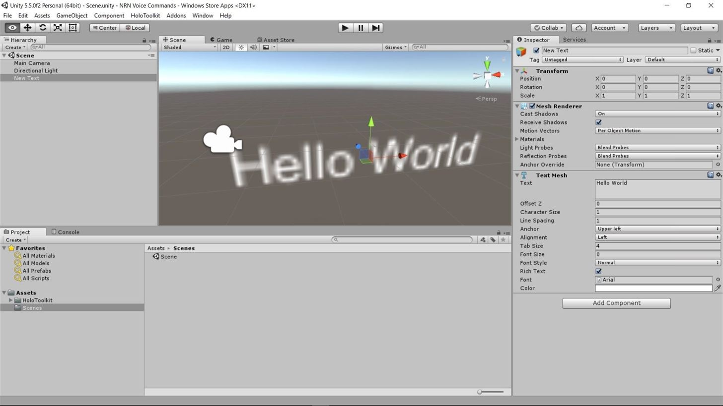 HoloToolkit: How to Add Voice Commands to Your HoloLens App