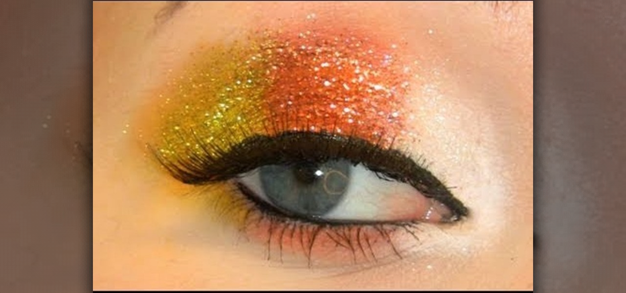 How to Create a glittery candy corn eye makeup look for Halloween « Makeup  WonderHowTo & How to Create a glittery candy corn eye makeup look for Halloween ...