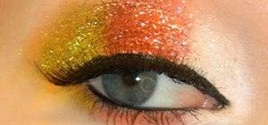 Create a glittery candy corn eye makeup look for Halloween