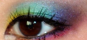 Create a fun rainbow eye makeup look