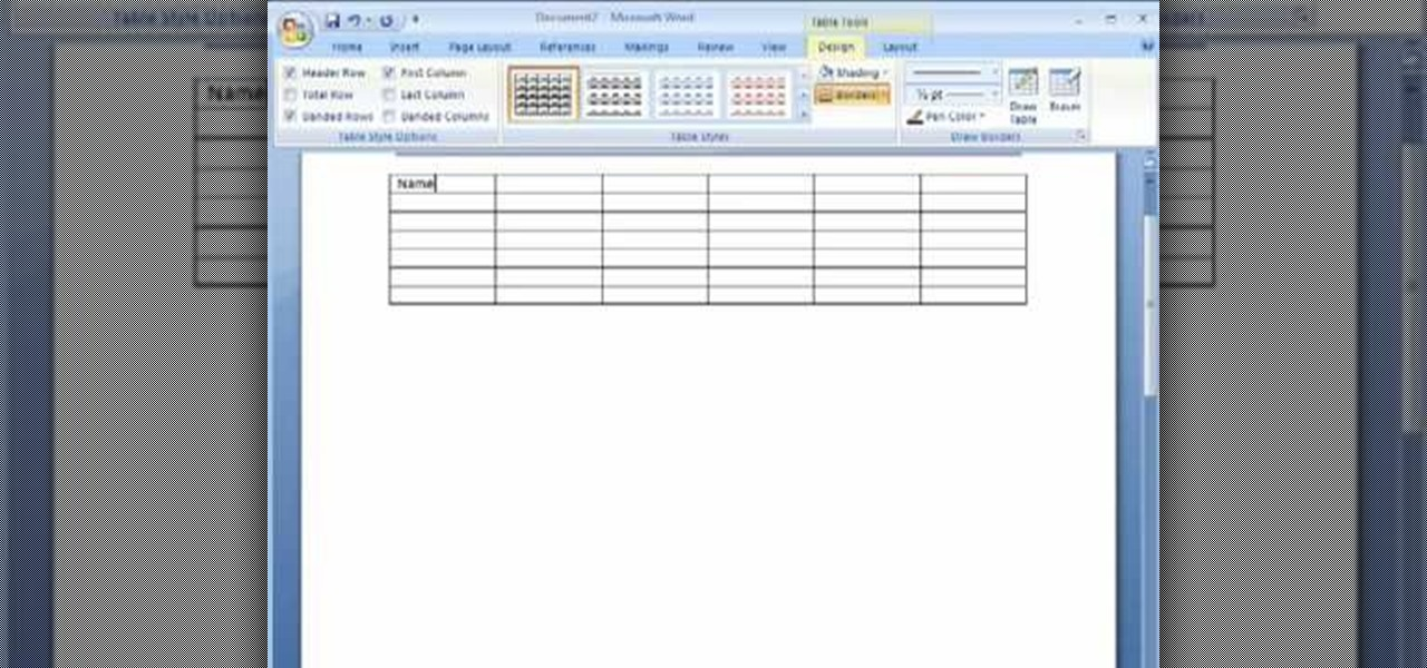 how to work with tables in microsoft word 2007  u00ab microsoft