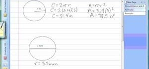 Find circumference and area of a circle