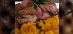 Cook duck breast with sweet potato mash