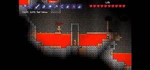 Get lots of gold by building a mob trap in the lava level of Terraria