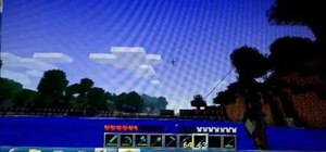 Use a boat and fishing rod in Minecraft