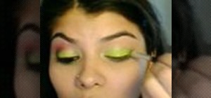 Make a Chartreuse and Hot Pink Eye makeup look