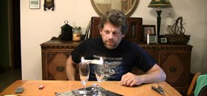 Build a simple fire motor with wine glasses and a candle stick