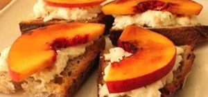 Make a healthy peach brulee burrata bruschetta
