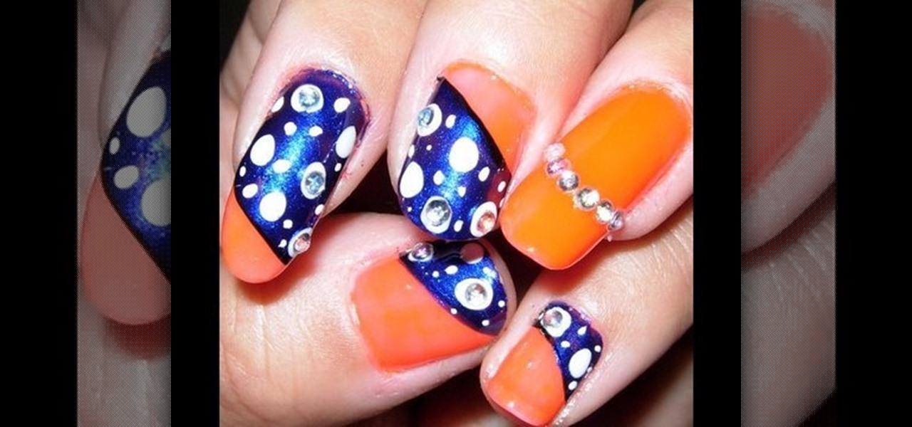 How To Create A Neon Orange And Dark Blue Nail Art Design