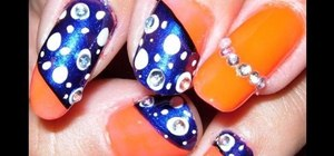 Create a neon orange and dark blue nail art design