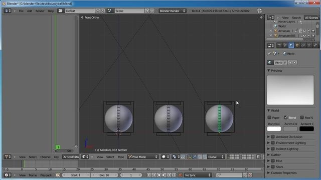 Animate three different types of balls in Blender 2.5