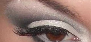 Apply white and grey eye shadow