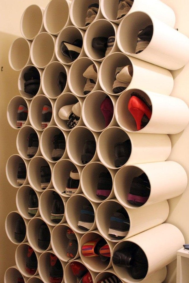 DIY PVC Pipe Shoe Rack
