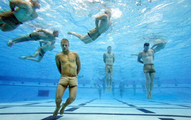 SEAL trainees during the Drown Proofing Test, where they must untie ...: wild-turkey.wonderhowto.com/how-to/be-navy-seal-0128522