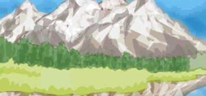 Draw a mountain scene on your computer