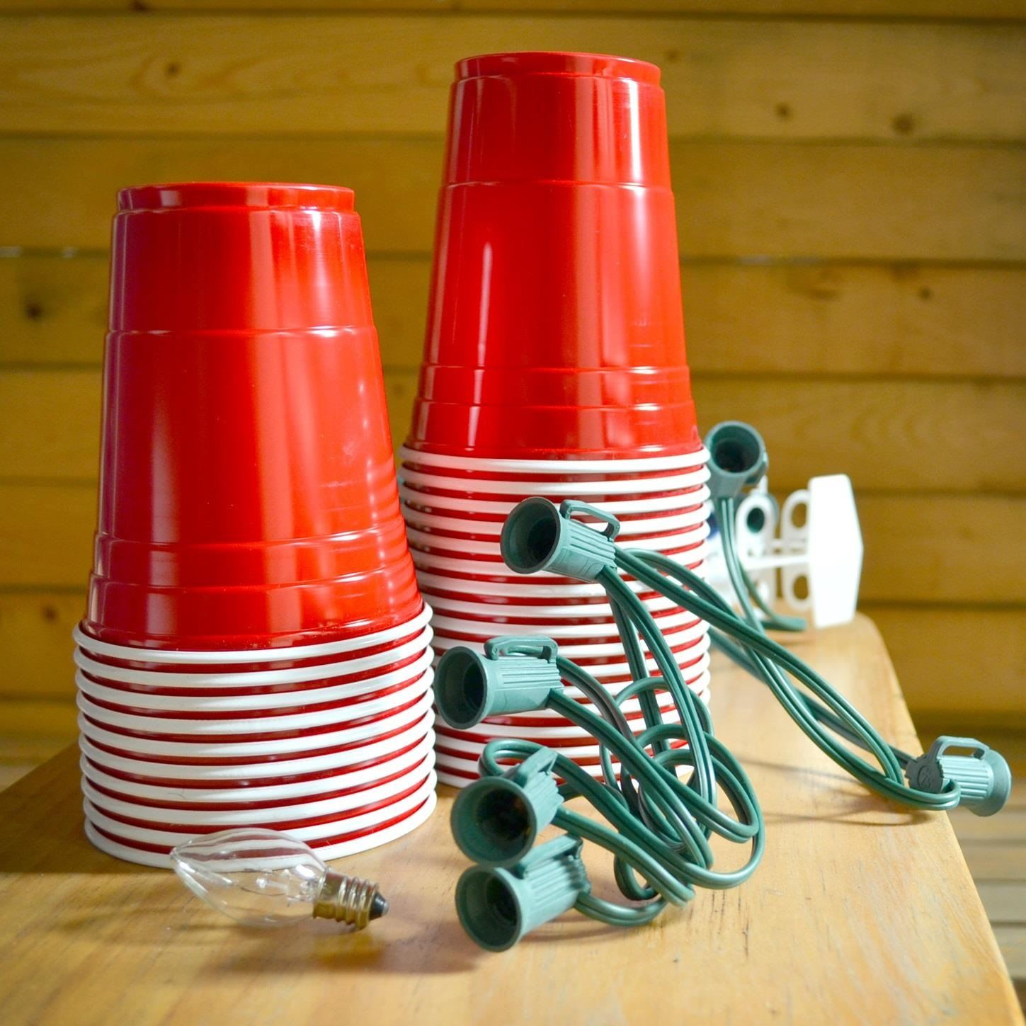 How to Recycle Red Plastic Cups into a Sweet Set of Stringed Party Lights