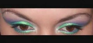 Create a green, purple and blue eye makeup look