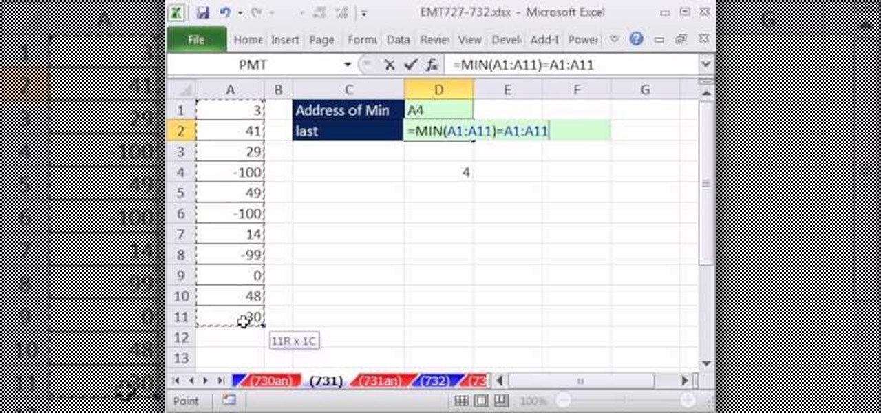 How to Retrieve the cell address of the minimum value in a