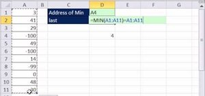 Retrieve the cell address of the minimum value in a column in Microsoft Excel
