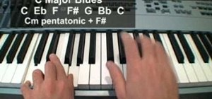 Play the Blues scale and other licks in the right hand on the Piano