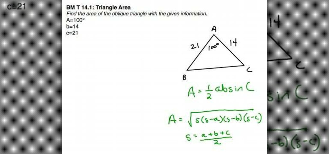 How To Find The Area Of An Oblique Triangle Using Formulas