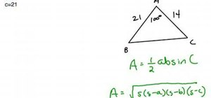 Find the area of an oblique triangle using formulas
