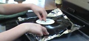 Turn an old vinyl record into a bowl or platter