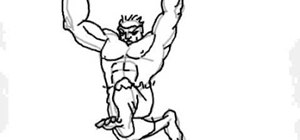 Draw the cartoon version of The Incredible Hulk