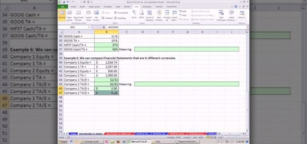 Financial Ratios In Excel