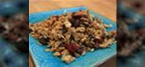 Make honey almond granola with raisins, dried cranberries and vanilla