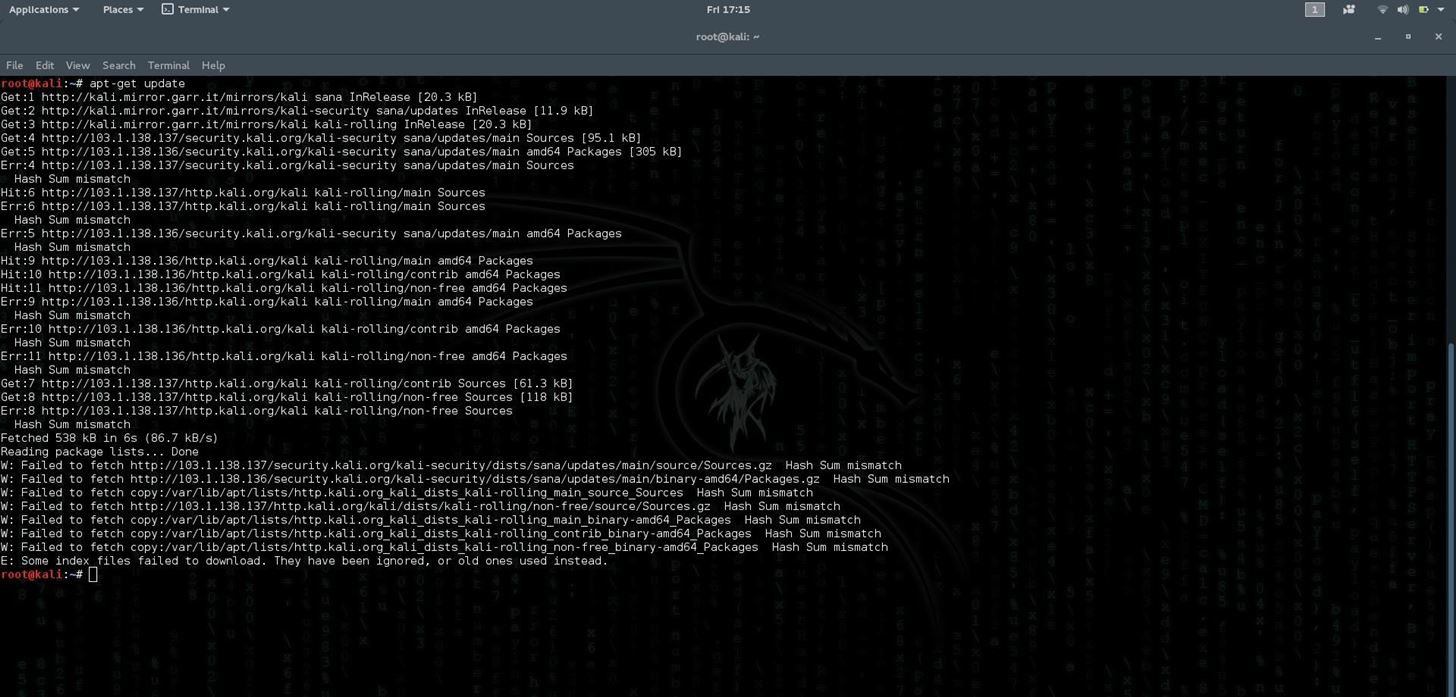 Kali Linux Unable to Update to Upgrade