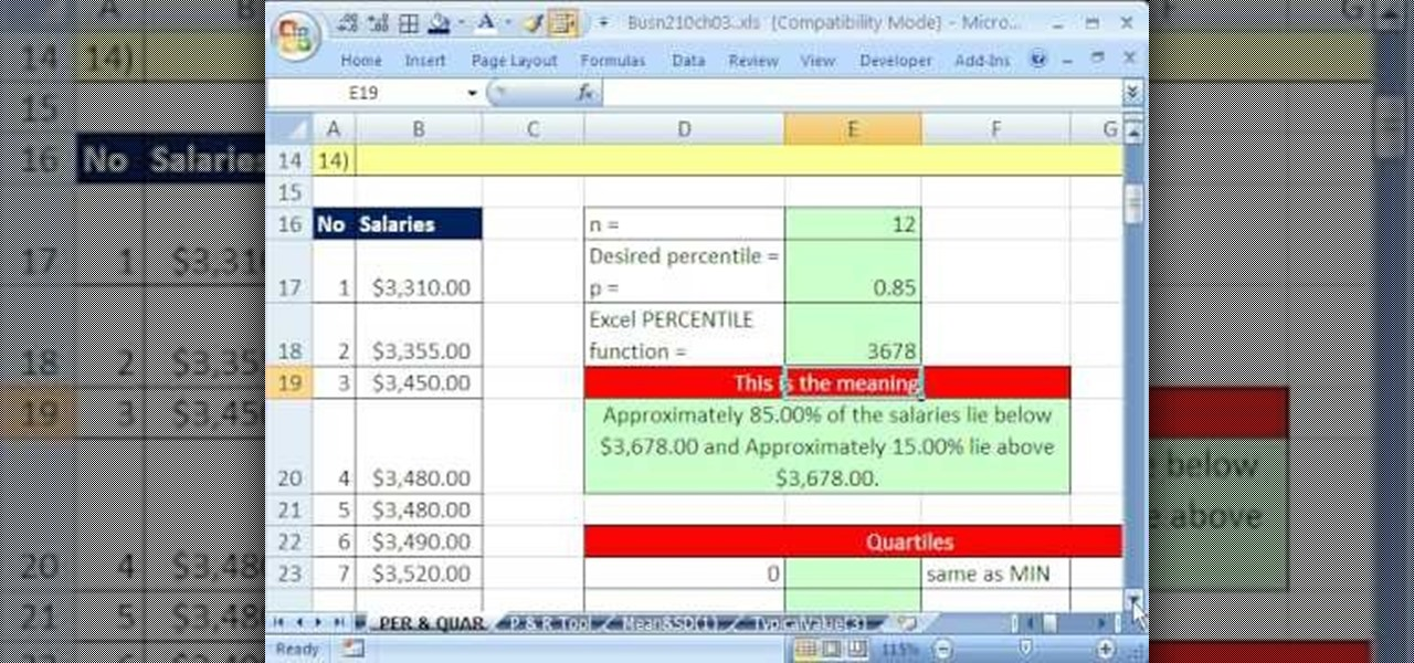How to Calculate percentiles and quartiles in Microsoft
