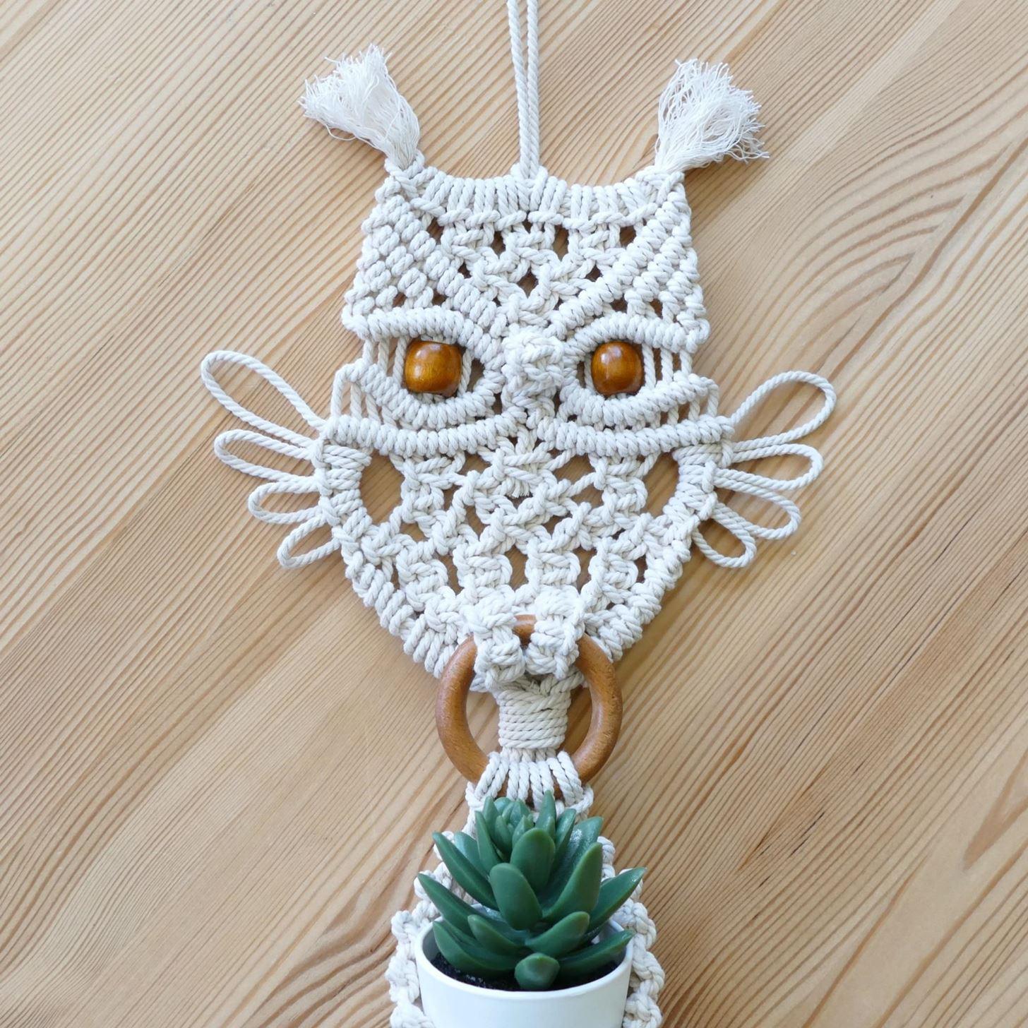 Macrame Owl Plant Hanger Tutorial