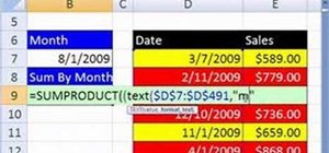 Calculate monthly sales with Excel's SUMPRODUCT & TEXT