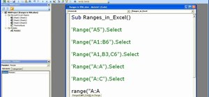 Use the range property in Excel macros