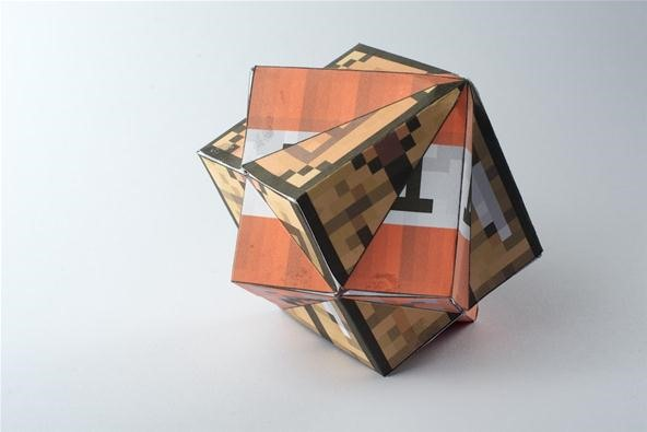 A Compound of Two Cubes with a Minecraft theme