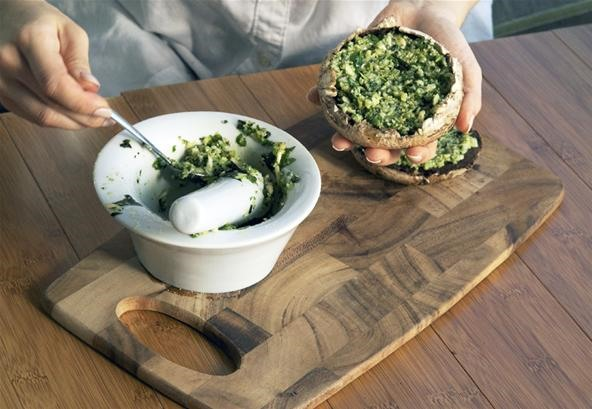 How to Make Pesto Stuffed Mushrooms with Quail Eggs