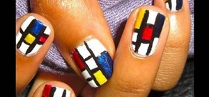 Paint Piet Mondrian inspired block print nails
