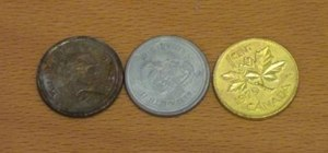 Turn pennies into silver and gold coins with zinc