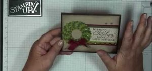 Make a paper Christmas wreath as an embellishment for a greeting card
