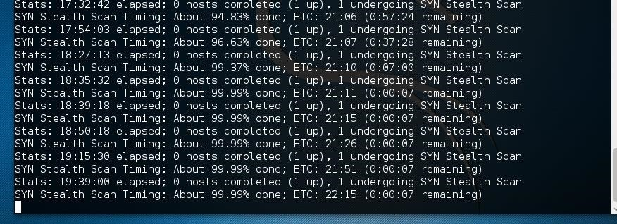 Nmap Has Been Frozen at 99.99%