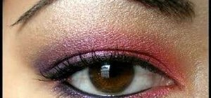 Create coral and purple iris eyeshadow look