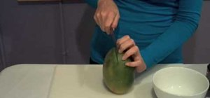 Cut a large mango