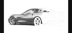 Draw a realistic Corvette sports car