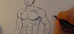 Draw a muscular manga style male body