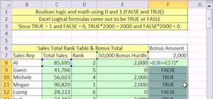 Use Boolean math formulas in Microsoft Office Excel