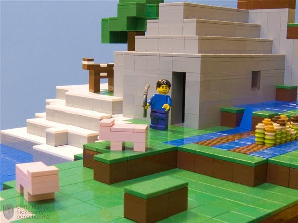 Crafting blocks into bricks a minecraft lego diorama