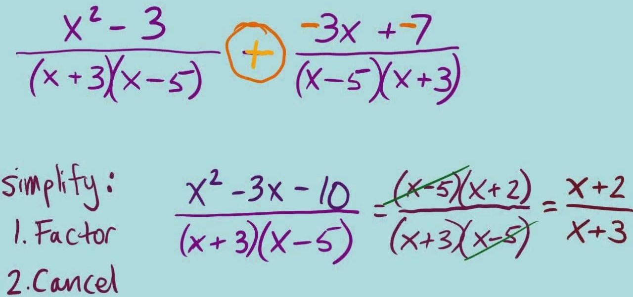 How to Add and subtract rational expressions « Math :: WonderHowTo