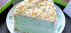 Pandan Angel Food Cake with Coconut Frosting